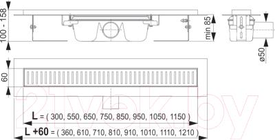 Трап для душа Alcaplast APZ1-1150 (без решетки)