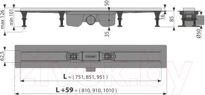 Трап для душа Alcaplast APZ22-850 (с решеткой Solid-850)