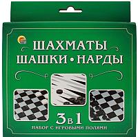 Набор игр РЫЖИЙ КОТ Шахматы, шашки, нарды / ИН-1619 -