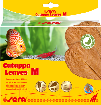 Купить Корм для рыб Sera, Catappa Leaves Листья индийского миндаля М / 32274 (10шт), Германия