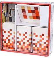 Набор аксессуаров для ванной Podari Mosaic Design 4 (оранжевый) -