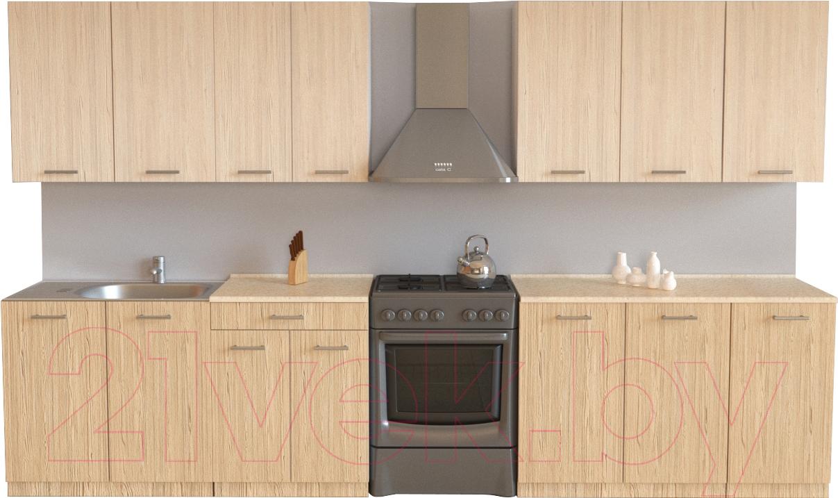 Купить Готовая кухня Хоум Лайн, Луиза 2.6 (флитвуд шампань/флитвуд белый), Беларусь