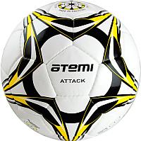 Футбольный мяч Atemi Attack PU (размер 5, белый/чёрный/жёлтый) -