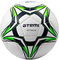 Футбольный мяч Atemi Attack PVC foam (размер 4, белый/синий/салатовый) -