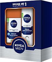 Набор косметики для бритья Nivea Men для чувствительной кожи пена для бритья+лосьон после бритья (200мл + 100мл) -
