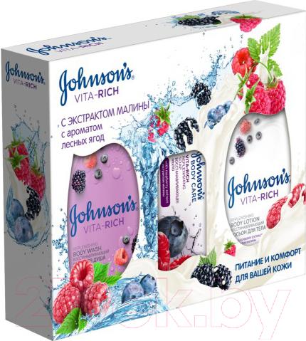 Купить Набор косметики для лица и тела Johnson's, Vita Rich экстракт малины гель д/душа+лосьон д/тела+мыло (250мл + 250мл + 125г), Италия