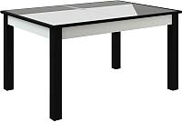 Обеденный стол Васанти Плюс ВС-47 110/150x70 (белый глянец/черный) -
