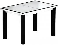 Обеденный стол Васанти Плюс ВС-50 110/150x70М (белый матовый/черный) -
