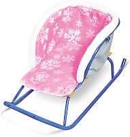 Сиденье для санок Ника Меховое / СС2-2 (со снежинками розовый) -