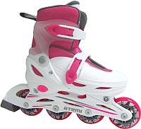 Роликовые коньки Atemi AJIS-12.05 Neon (р-р 27-30, розовый/белый) -