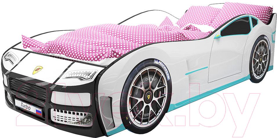 Купить Детская кровать-машинка КарлСон, Турбо с подъемным механизмом (белый), Россия