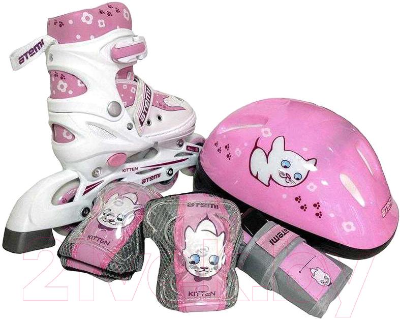 Купить Роликовые коньки Atemi, AJIS-12.08 Kitten с комплектом защиты (р 38-41, розовый), Китай