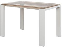 Обеденный стол Goldoptima Георг (эмаль слоновая кость/стекло бронза) -