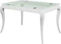 Обеденный стол Goldoptima Георг 03 (эмаль белый/стекло прозрачное) -