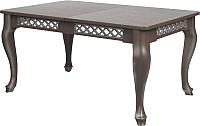 Обеденный стол Goldoptima Людовик 01 (орех табак/патина серебро) -
