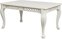 Обеденный стол Goldoptima Людовик 01 (эмаль слоновая кость/патина бежевая) -