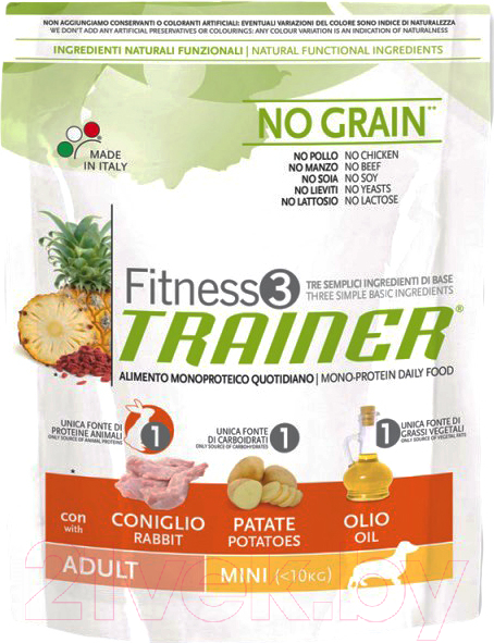 Купить Корм для собак Trainer, Fitness3 Adult Mini Rabbit & Potatoes (800г), Италия