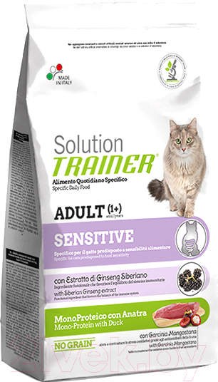 Корм для кошек Trainer, Solution Sensitive с уткой (1.5кг), Италия  - купить со скидкой