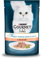 Корм для кошек Gourmet Perle Мини-филе с лососем в подливе (85г) -