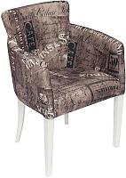 Кресло мягкое Tetchair Knez (ткань коричневый/белый) -