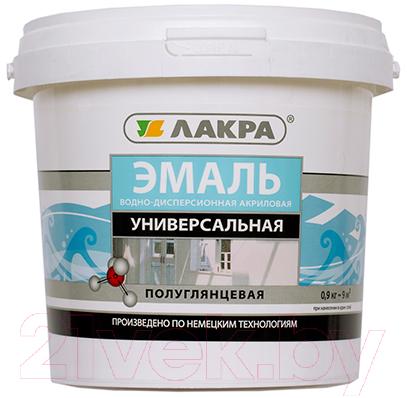 Купить Эмаль Лакра, Акриловая универсальная (900г, белый полуглянец), Россия