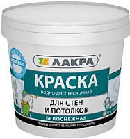 Краска Лакра Для стен и потолков водно-дисперсионная (1.3кг, белоснежный) -