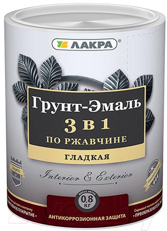 Купить Эмаль Лакра, По ржавчине 3 в 1 (800г, белый), Россия