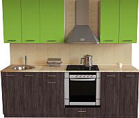 Готовая кухня Хоум Лайн Луиза Люкс 2.2 (флитвуд серая лава/зеленый лайм) -