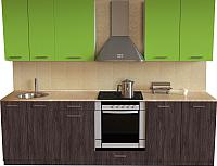 Готовая кухня Хоум Лайн Луиза Люкс 2.5 (флитвуд серая лава/зеленый лайм) -