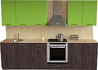 Готовая кухня Хоум Лайн Луиза Люкс 2.7 (флитвуд серая лава/зеленый лайм) -