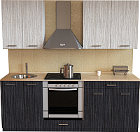 Готовая кухня Хоум Лайн Луиза Люкс 2.0 (древесина графит/древесина белая) -