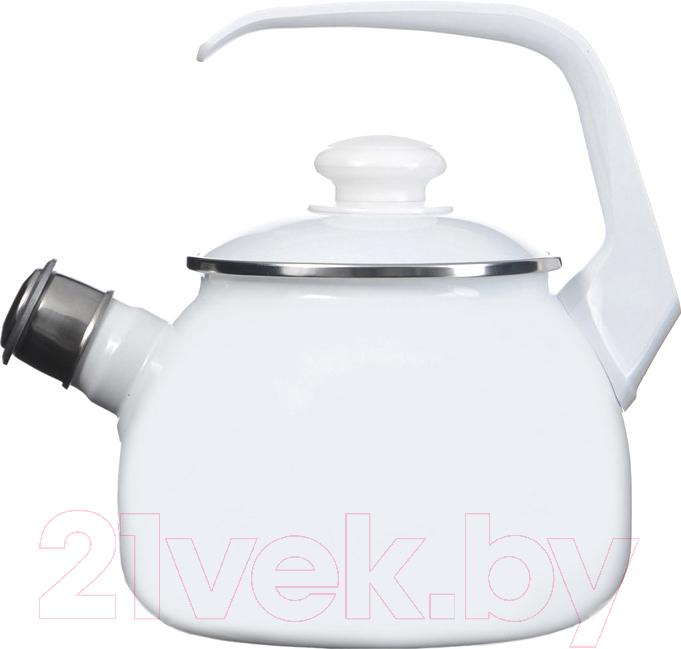 Купить Чайник со свистком Лысьвенские эмали, С-2711 АП/РЧ, Россия, белый