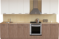 Готовая кухня Хоум Лайн Луиза Люкс 2.8 (древесина шорвуд/белый) -