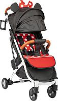 Детская прогулочная коляска Sundays Baby S600 Plus (белая база/черный с красными горошинами) -