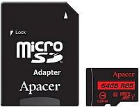 Карта памяти Apacer microSDHC (Class 10) 64GB + адаптер (AP64GMCSX10U5-R) -