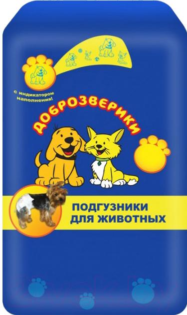 Купить Подгузники для собак Доброзверики, 40-50см (M, 12шт), Россия