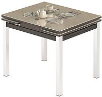 Обеденный стол Импэкс Leset Париж 1Р (металл хром/стекло кремовый) -