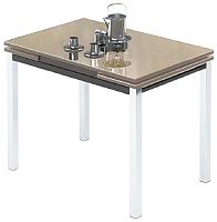 Обеденный стол Импэкс Leset Париж 2Р (металл хром/стекло кремовое) -