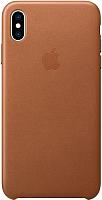Чехол-накладка Apple Leather Case для iPhone XS Max Saddle Brown / MRWV2 -