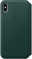 Чехол-книжка Apple Leather Folio для iPhone XS Max Forest Green / MRX42 -