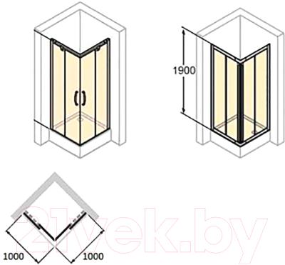 Душевой уголок Huppe X1 / 140104 069 321