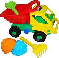 Набор игрушек для песочницы Полесье Самосвал Кузя-2 с совком, грабельками и формочками / 2945 -