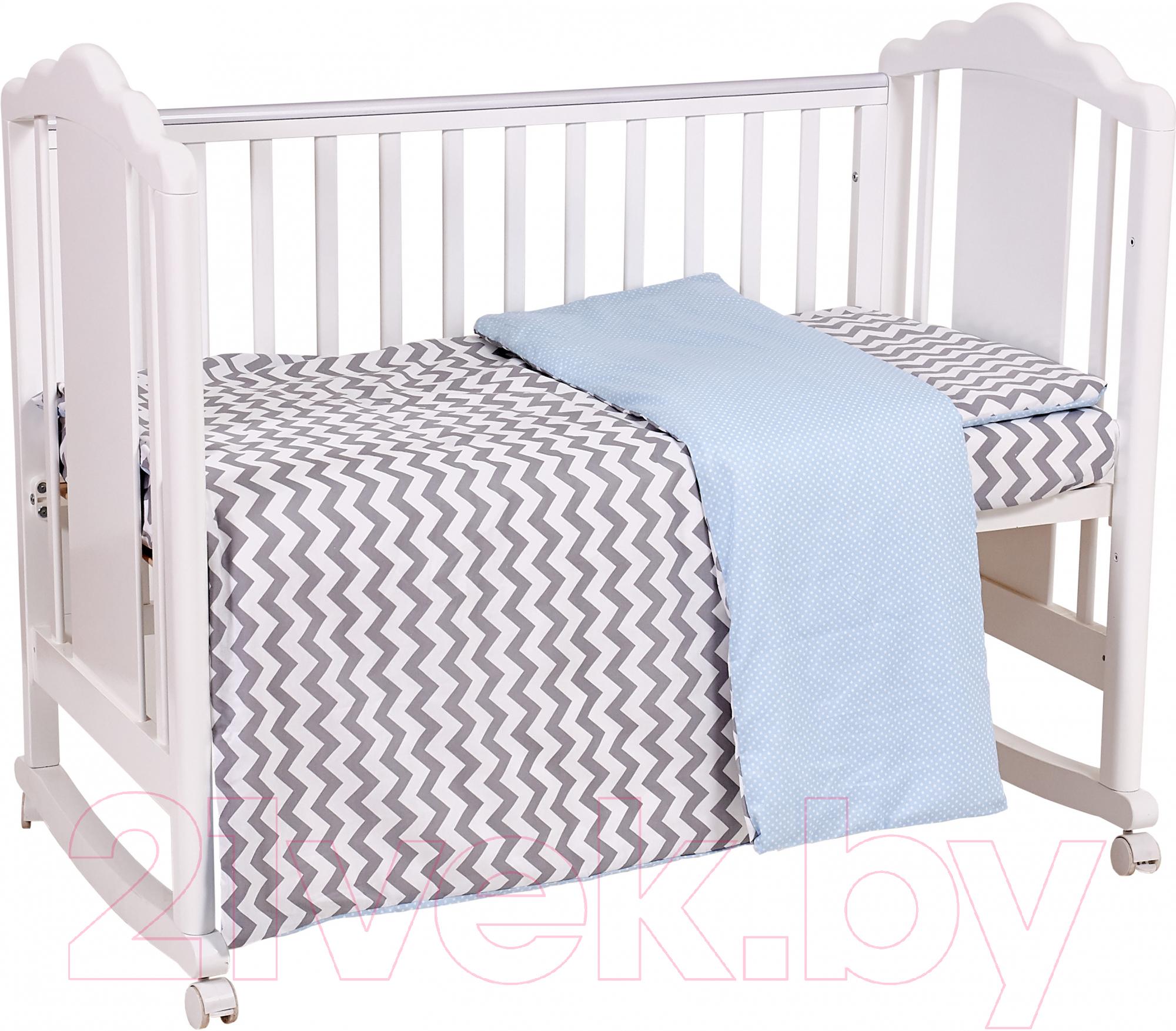Купить Комплект в кроватку Polini Kids, Зигзаг (серый/голубой), Россия, хлопок, Зигзаг (Polini Kids)