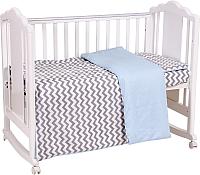 Комплект в кроватку Polini Kids Зигзаг (серый/голубой) -