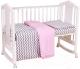 Комплект постельный в кроватку Polini Kids Зигзаг (серый/розовый) -