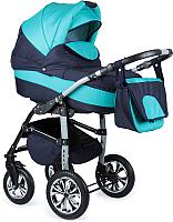 Детская универсальная коляска Alis Berta 2 в 1 (be10, темно-синий/мятный) -