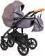 Детская универсальная коляска Alis Camaro F 3 в 1 (cm03, фиолетовый узор/фиолетовая кожа) -