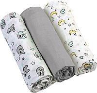 Набор пеленок детских BabyOno Муслиновые. Супер мягкие / 348/01 (3шт, серый) -