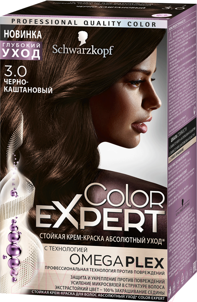 Купить Крем-краска для волос Color Expert, Стойкая 4-0 (темно-каштановый), Россия, брюнет