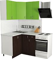 Готовая кухня Хоум Лайн Агата 1.2x1.2 (венге/зеленая мамба) -
